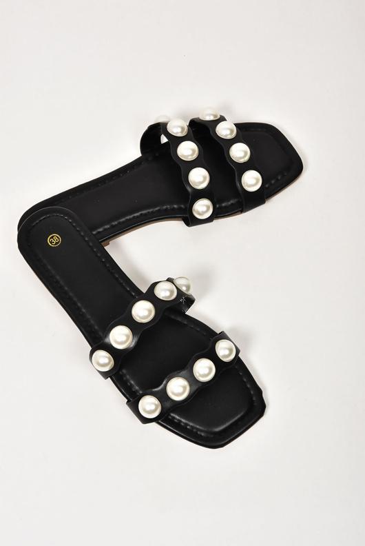 Black Twin Pearl Strap Sandals