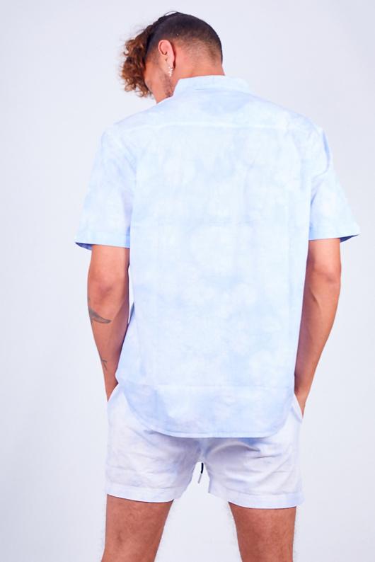 Blue Tie Dye Print Shirt And Shorts Set