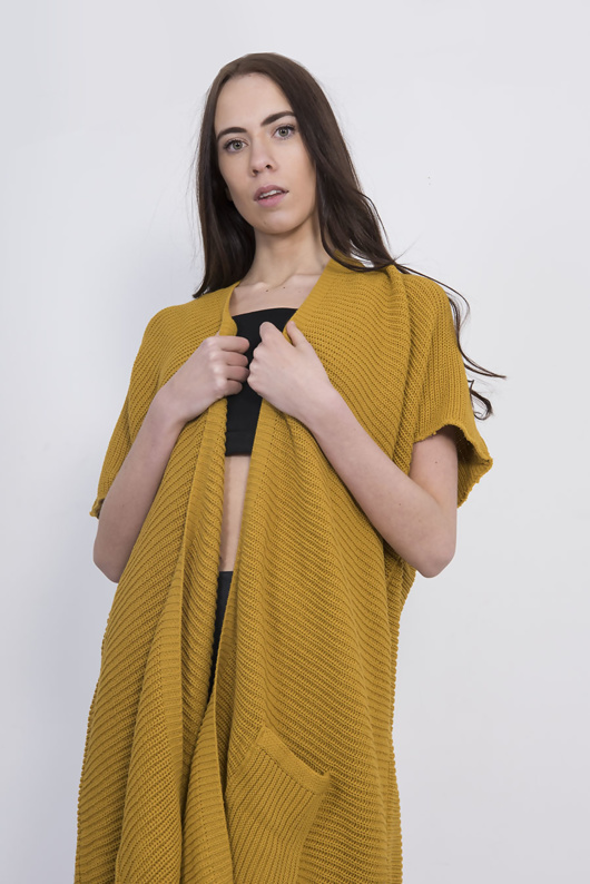 Mustard Knitted Kimono Cardigan