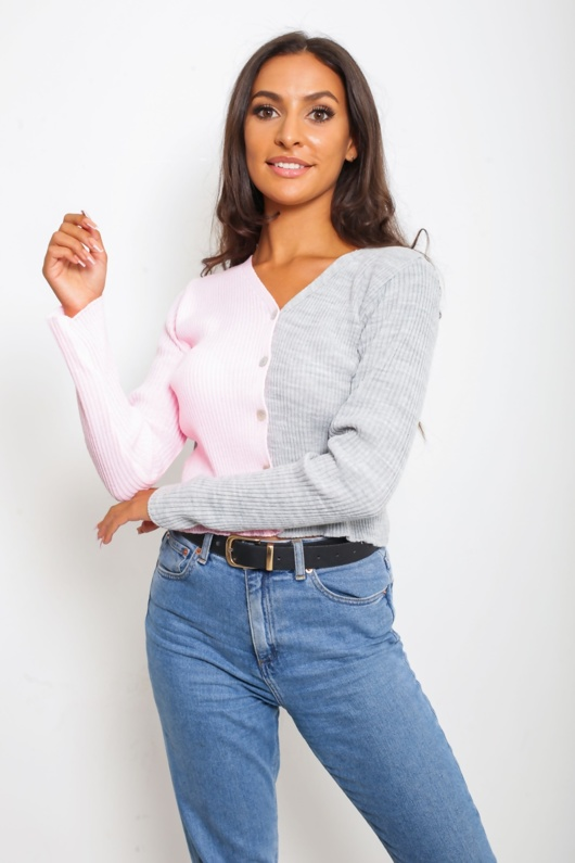 Dusty Two Tone Button Front Cardigan