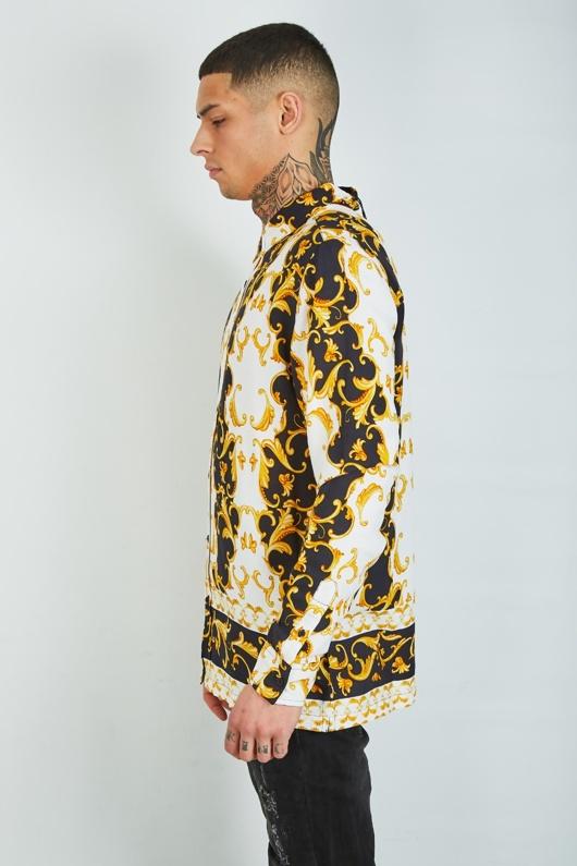 Mens White Baroque Print Long Sleeve Shirt