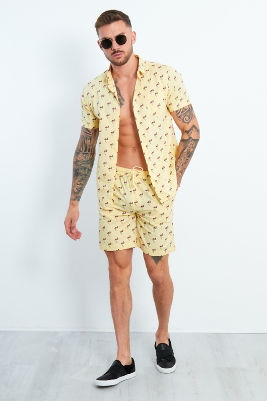 Mens Yellow Flamingo Printed Shirt And Shorts Set