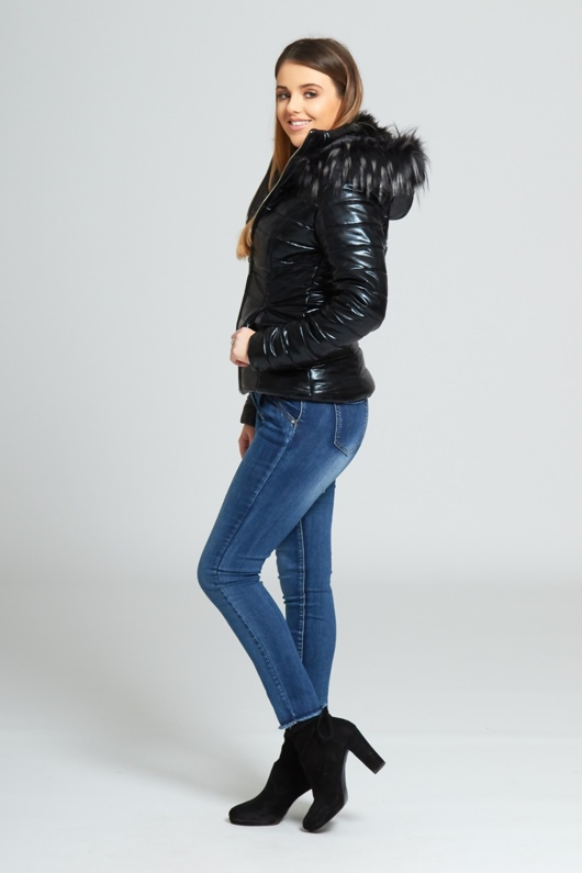 Black Faux Fur Hood Puffer Jacket