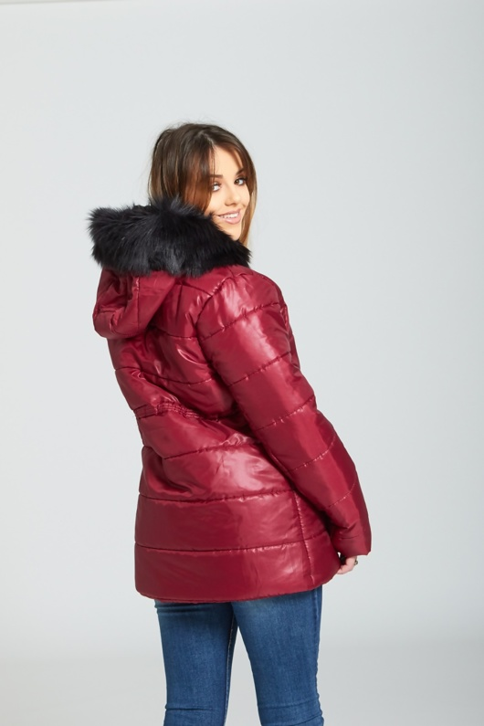 Wine Faux Fur Hooded Puffer Coat