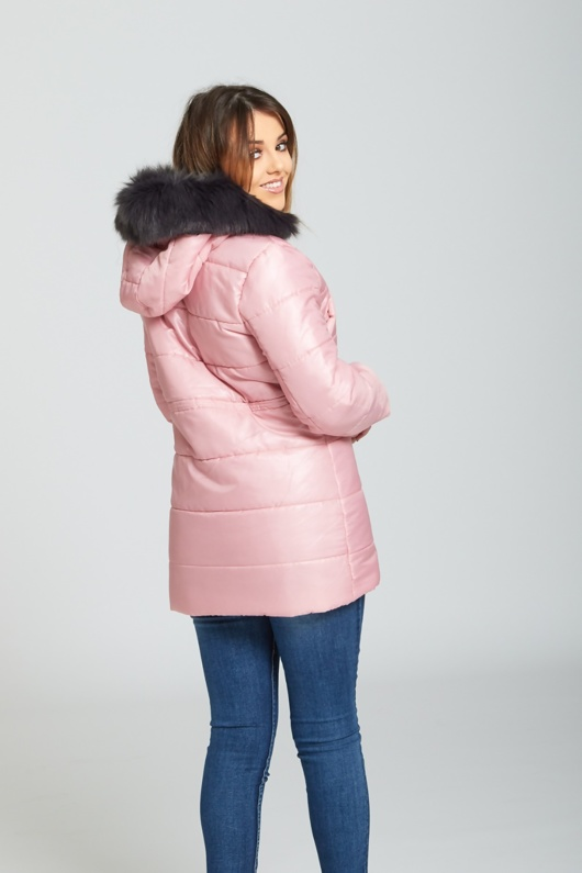 Pink Faux Fur Hooded Puffer Coat