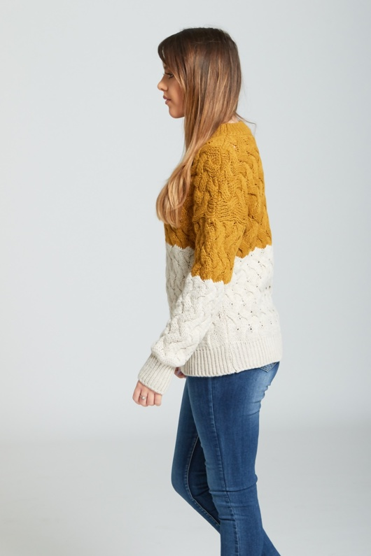 Mustard Crew Neck Thick Knit Jumper
