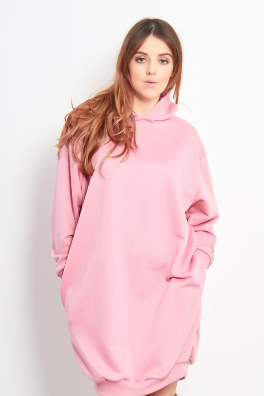 Oversized Baggy Pocket Sweat Hood Dress