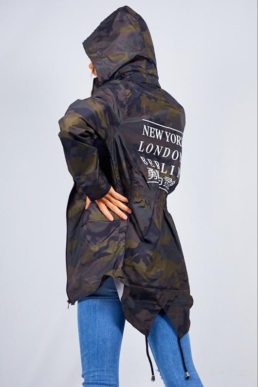 Camo Cities Slogan Print Hooded Rain Mac