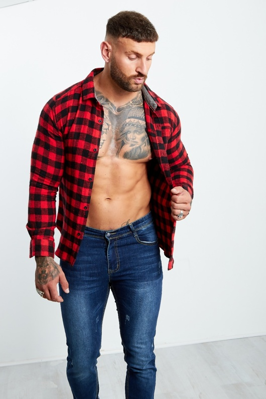 Mens Red And Black Checked Thick Shirt