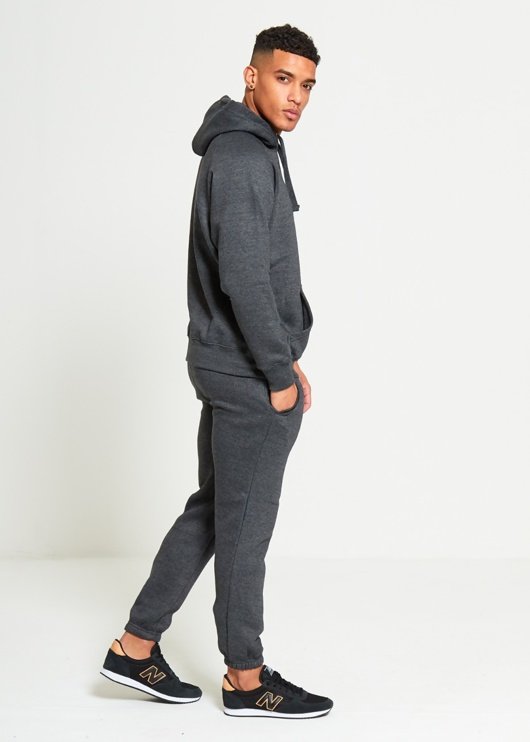 Charcoal Basic Pullover Hood Tracksuit