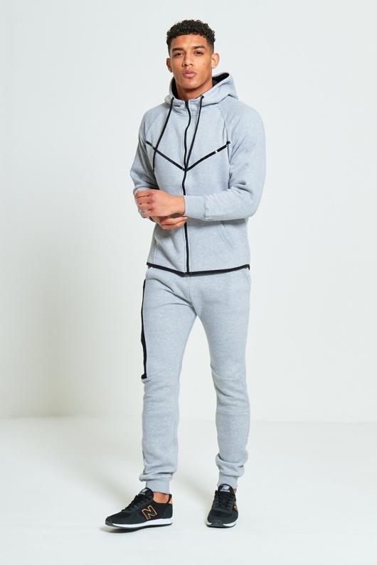Mens Grey Ribbon Panel Zip Through Skinny Tracksuit