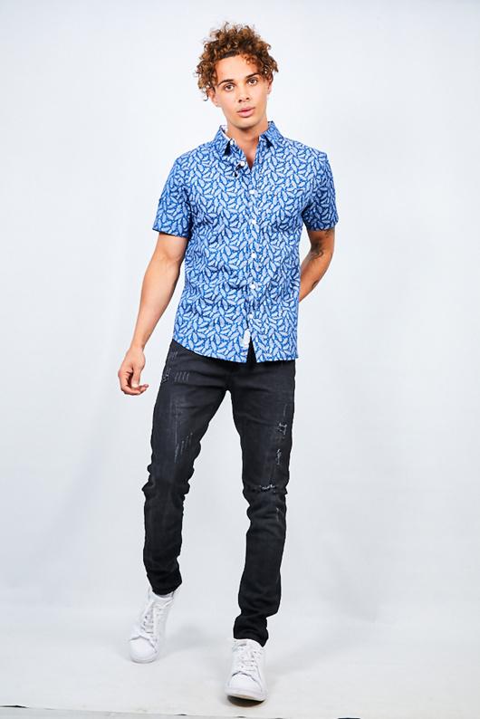 Navy Feather Print Short Sleeve Cotton Shirt