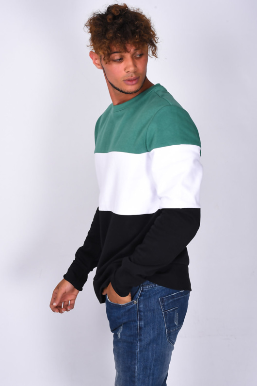 Mens Green Crew Neck Colourblock Sweatshirt