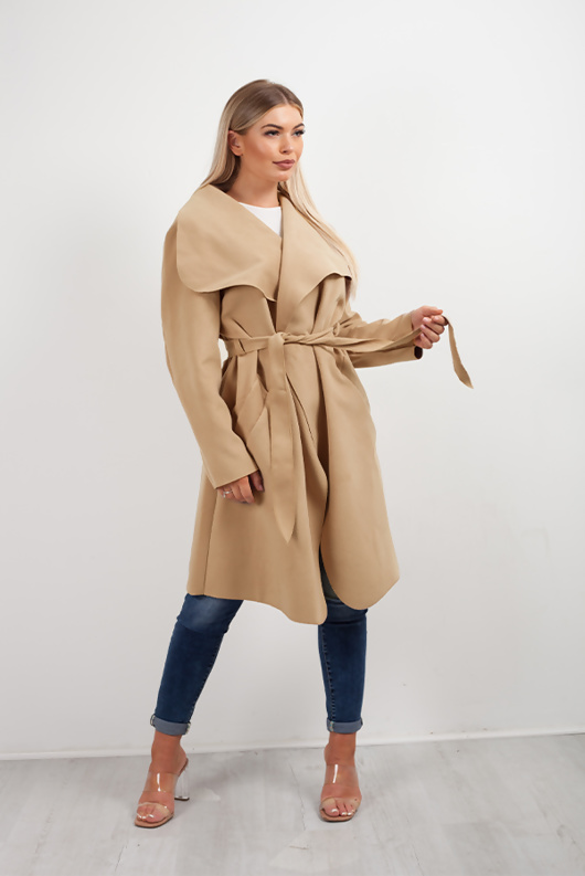 Camel Belted Waterfall Duster Coat