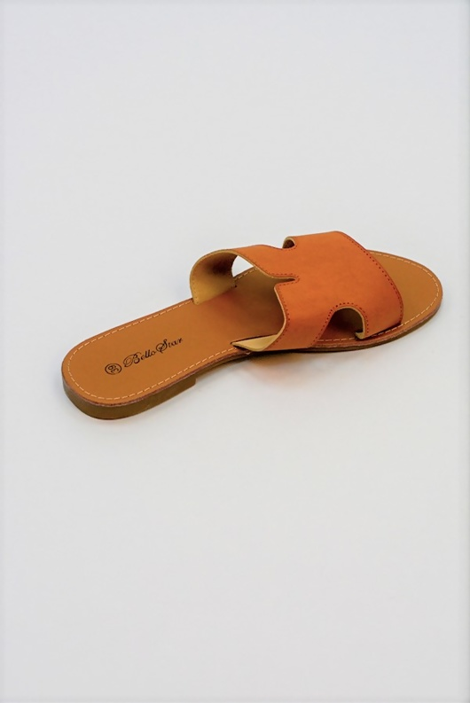 Camel Leather Open Toe Cutout Strap Sliders