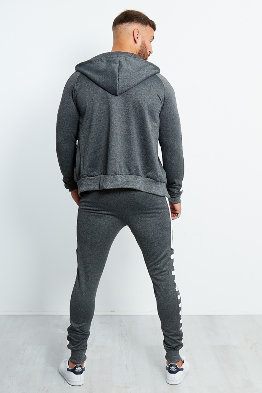Charcoal Marl White Side Detail Tracksuit
