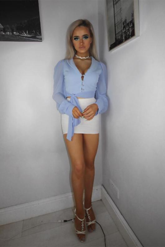 Chloe Brockett Blue Button Front Chiffon Mesh Sleeve Blouse