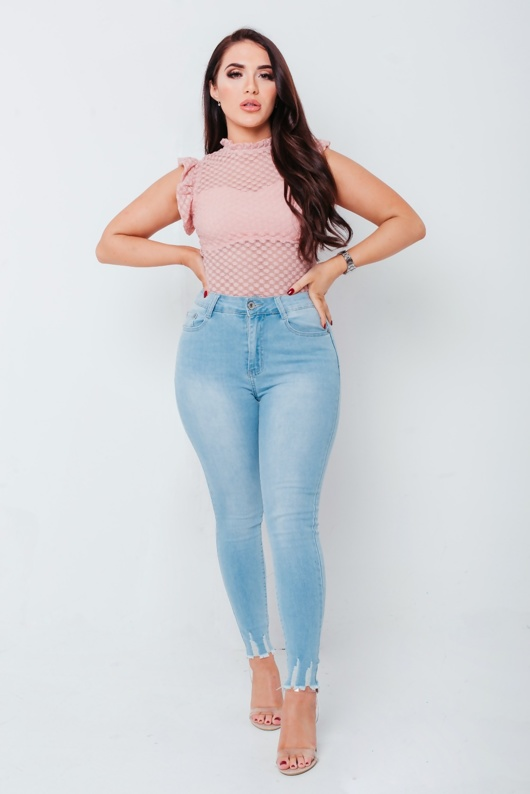 Chloe Brockett Pink Dotted Mesh Bodysuit