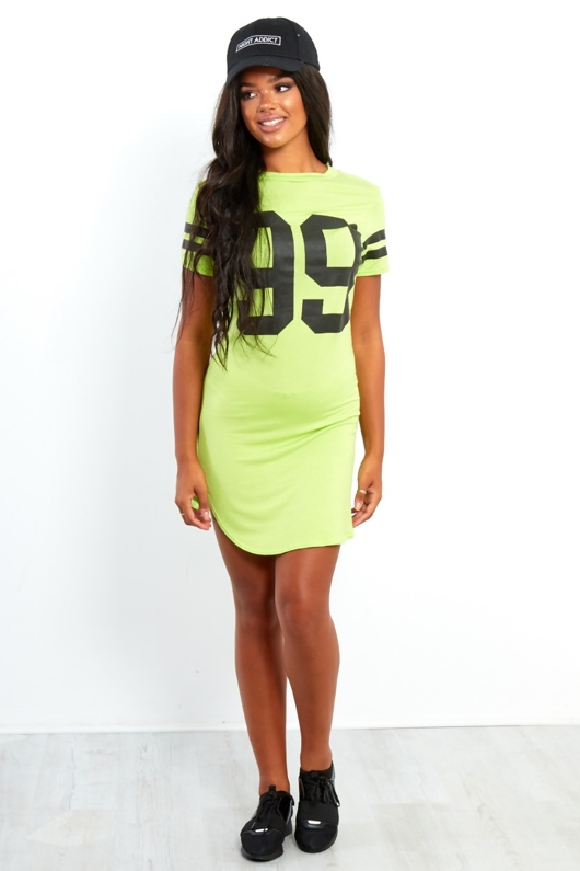 Lime Green 99 Printed Bodycon Dress