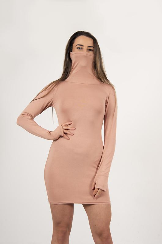 Pink jersey long sleeve mask bodycon dress