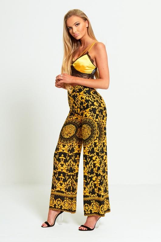 Yellow Baroque Print Wide Leg Trouser