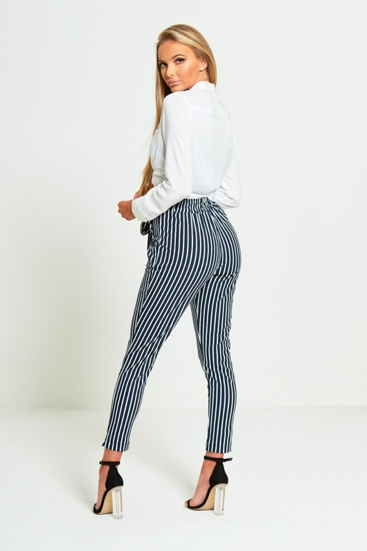 Navy Striped High Waisted Tapered Trousers