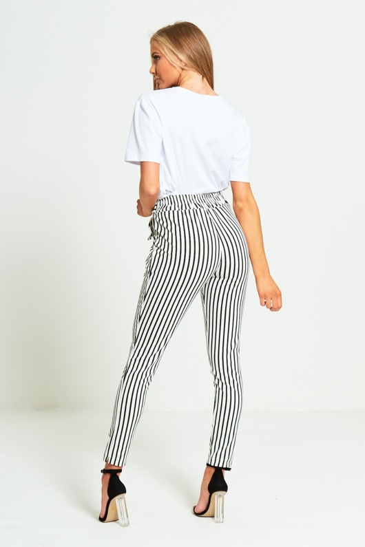 White Striped High Waisted Tapered Trousers