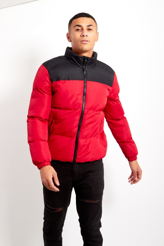 Red Mens Contrast Panel Padded Jacket