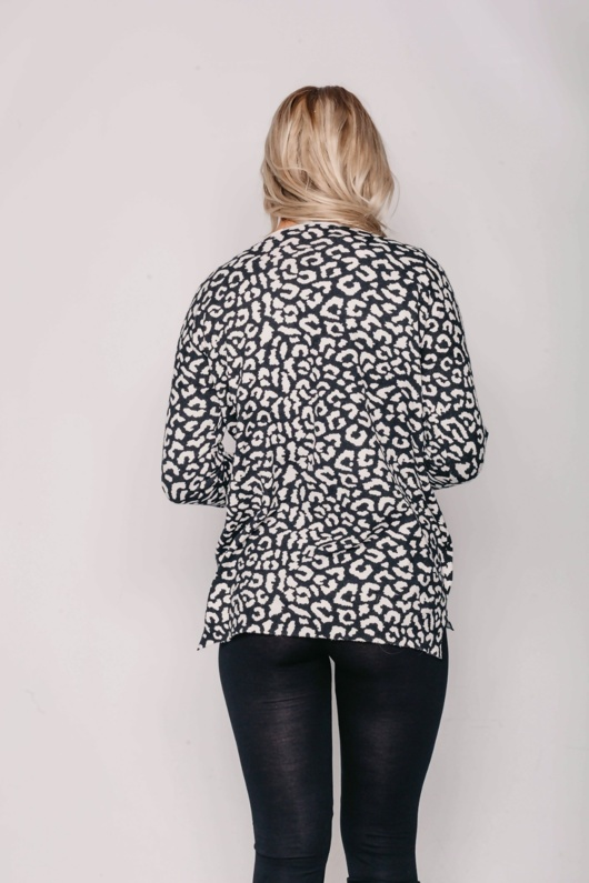Black Leopard Oversized Slouchy Jumper