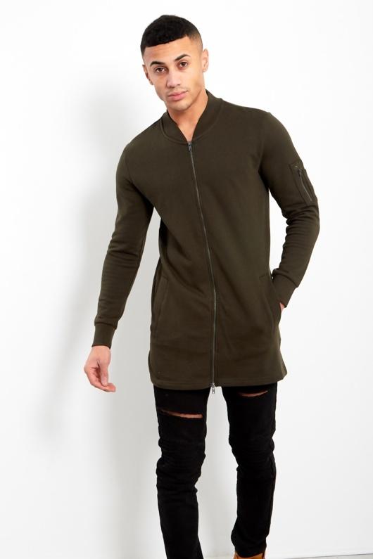 Mens Khaki Longline Cardigan With Zip Detail