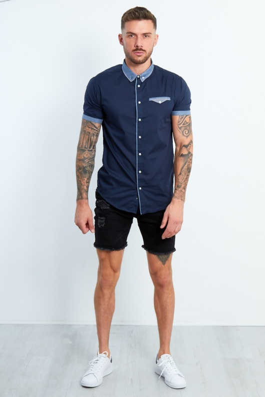 Mens Navy Shirt With Gingham Collar And Pocket