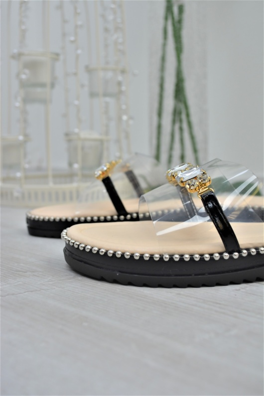 Black Stud Sole Diamante Perspex Sandals