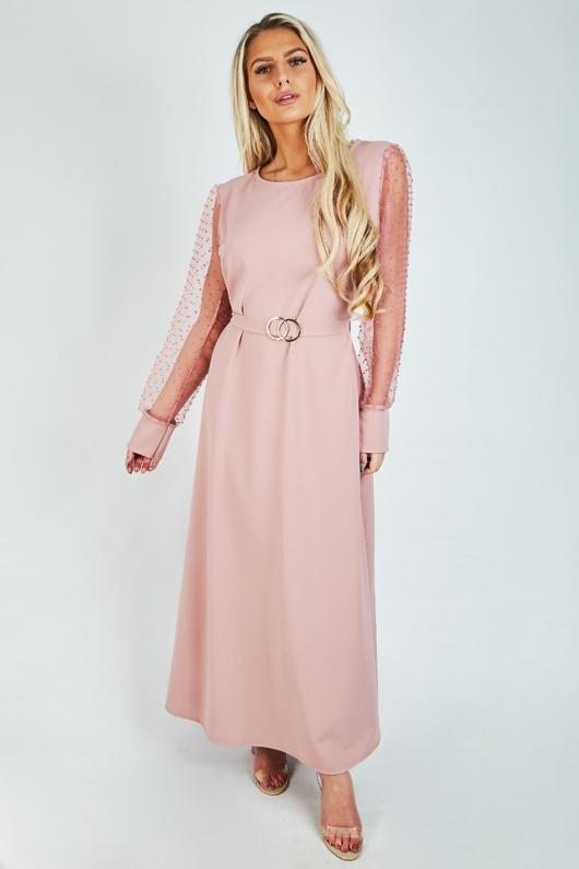 Dusty Pink Polka Mesh Sleeves Maxi Dress