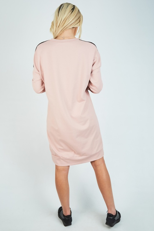 Dusty Pink Vouge Print Jumper Dress