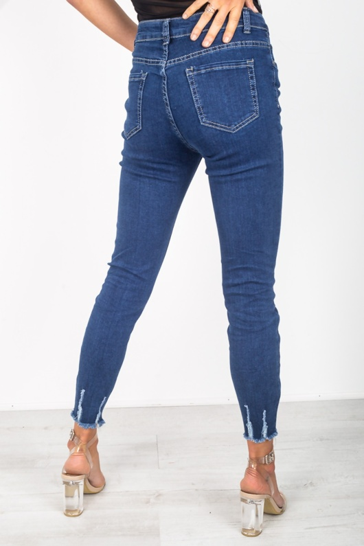 Raw Hem Dark Denim Skinny Jeans