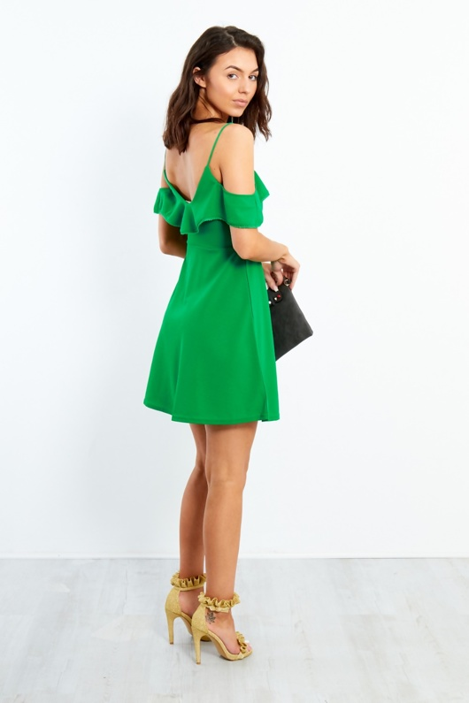E3324-Green Cold Shoulder Lace Trim Skater Dress