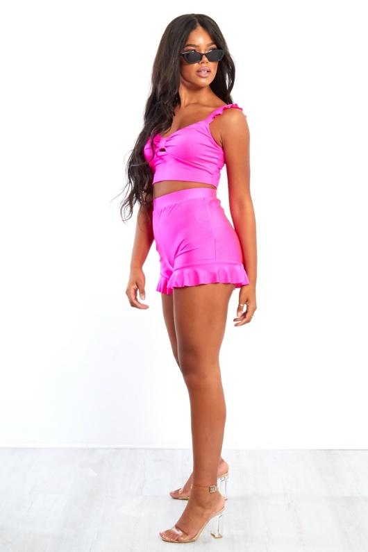Neon Pink Frill Hem High Waist Shorts