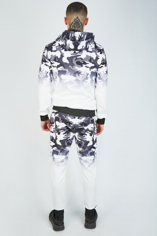 Mens White Camo Athleisure Hooded Tracksuit