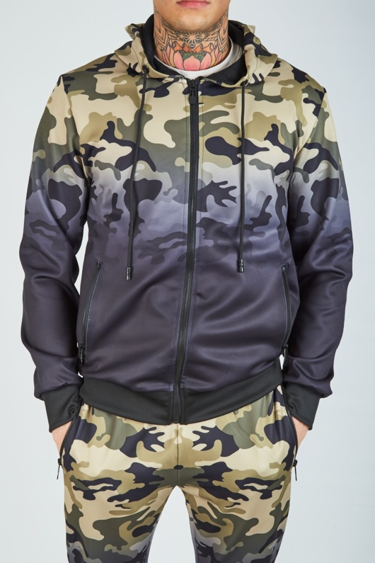 Mens Camo Colour Block Athleisure Hooded Tracksuit