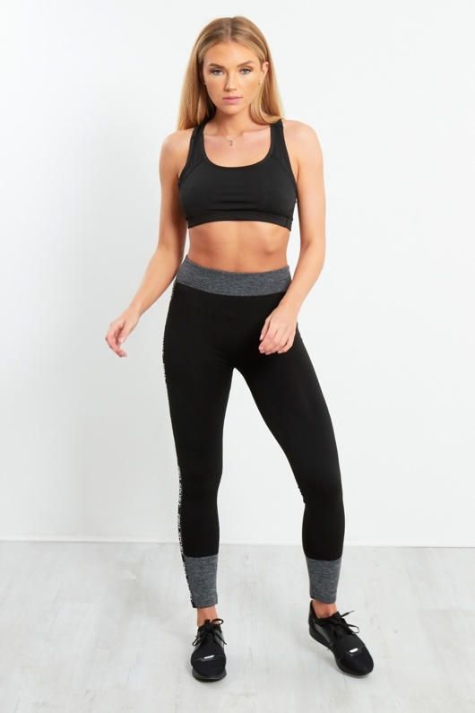 Black Pro Sports Activewear Leggings With Contrasting Detail