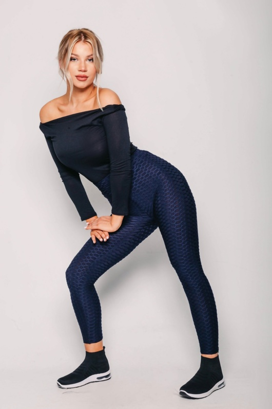 Navy Sports Textured High Waisted Leggings