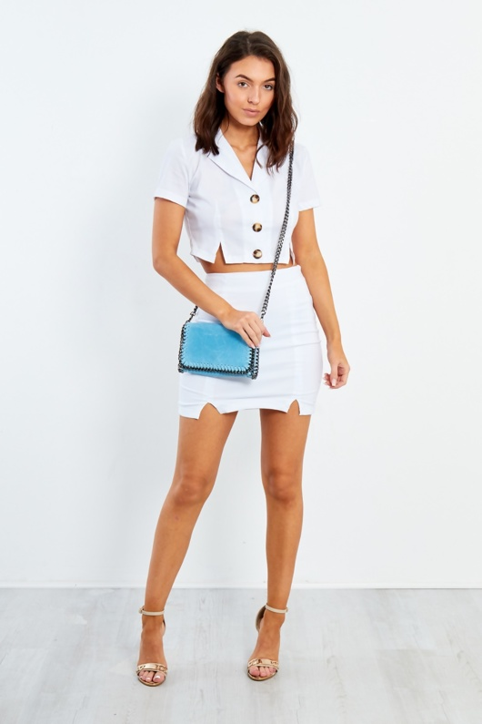 ET550-White Button Up Shirt And Skirt Co Ord