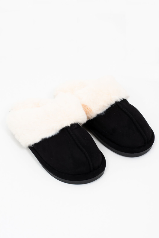 Mens black faux suede slippers