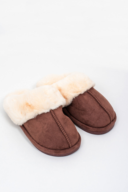 Mens brown faux suede slippers