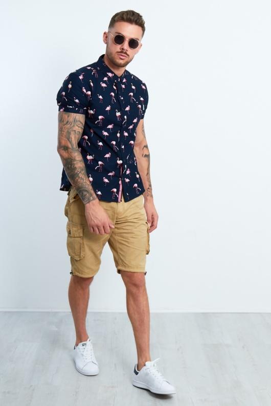 Mens Navy Flamingo Printed Shirt