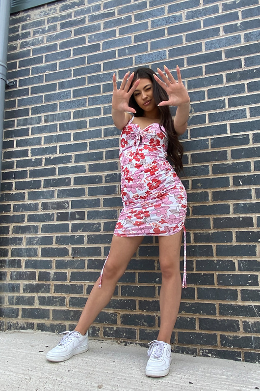 Floral Ruched Cut Out Bodycon Mini Dress
