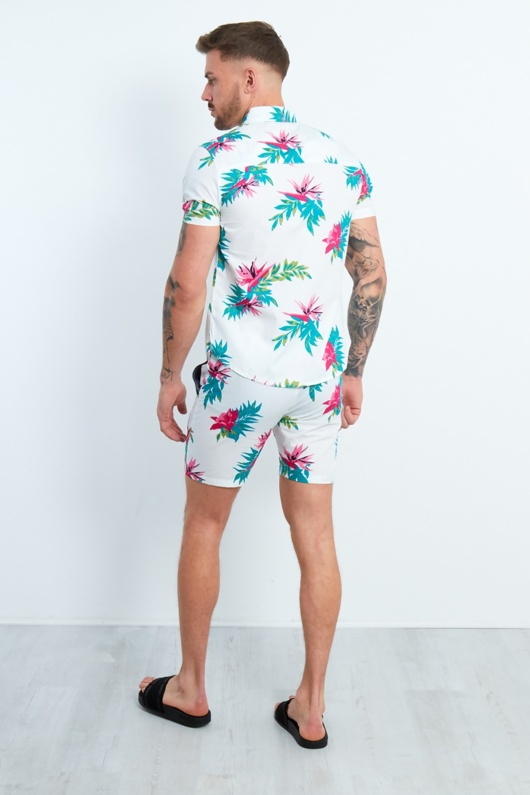 Mens White Floral Print Shorts