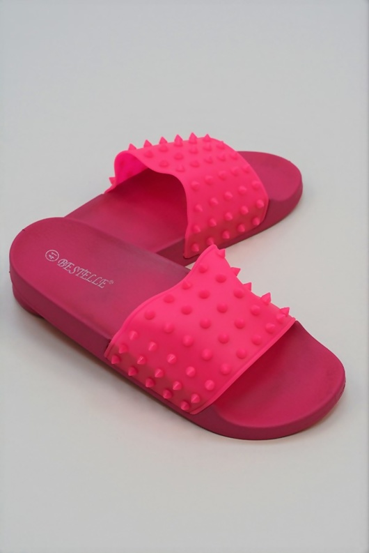 Neon Pink Studded Pool Sliders