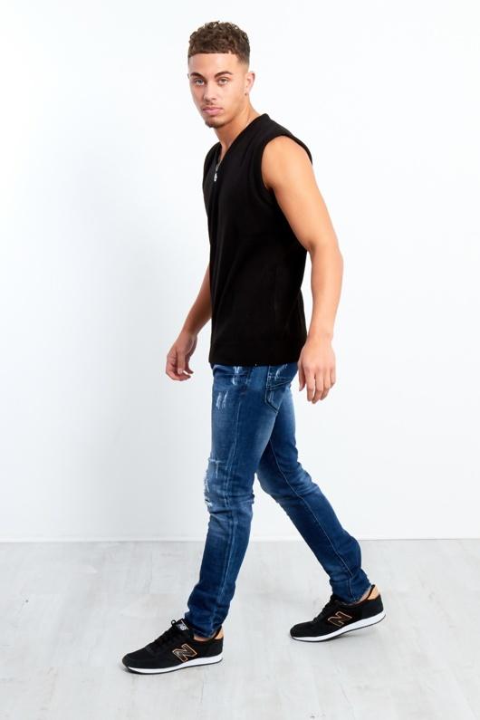 Slim Fit Faded Denim Ripped Jeans