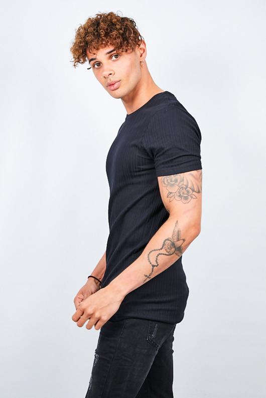 Mens Black Ribbed Detail T-Shirt